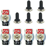 E Support Heavy Duty 20A 125V 15A 250V SPST 2 Terminal Pin ON/OFF Rocker Toggle Switch Metal Bat Waterproof Boot Cap Cover Black Pack of 5