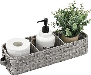 Bathroom Decor Box Natural Woven Seagrass Wicker Bathroom Storage Organizer Basket Bin Toilet Paper Holder with Leather Handle Toilet Tank Top Decorative Basket for Bathroom, Living Room, Entryway