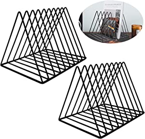 EASEPRES 9 Slot Magazine Rack Book Record Holder, Desktop Iron Storage Rack Bookshelf Multifunction Triangle File Organizer Sorter for Decor Home Office, Black Pack of 2