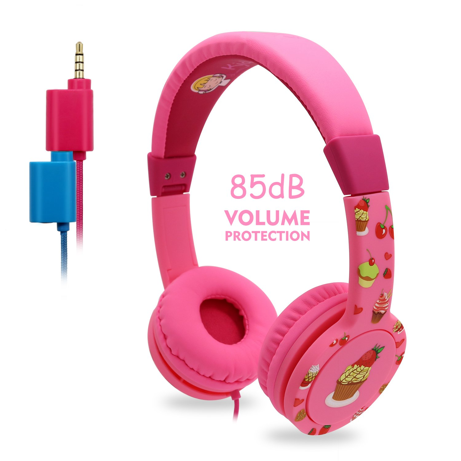 Kids Headphones, EasySMX On-Ear Headset Wired Foldable 85dB Volume Limited with Mic Headphone Splitter 3.5mm Jack In-line Control Children Headphones (Pink) by EasySMX