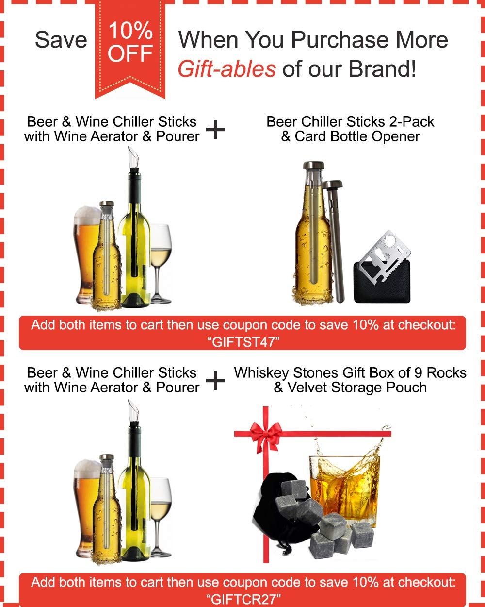 Unique Gift for Drinkers, Set of Wine and Beer Chiller Stick, Pack 2 Bottle Coolers - Wine Aerator Pourer Accessories - Best Idea for Couples - Are Husband Wife Dad Mom Wine Beer Lovers? by Yvento (Image #6)