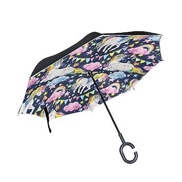 MyDaily Paraguas invertido de Doble Capa para Coches, Paraguas invertido, Unicornio, Arcoíris,