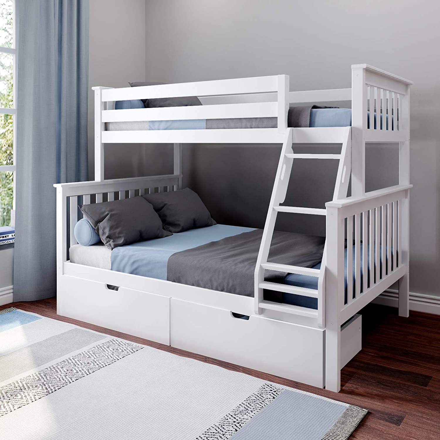 Max /& Lily Solid Wood Twin over Full Bunk Bed with Under Bed Storage Drawers Espresso