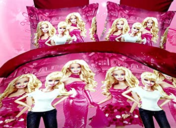 Strange Destiny Pink Barbie Bedsheet Girl Kids Bedsheet Set Of Two Single 5D Bedsheets With Two Pillow Covers Download Free Architecture Designs Rallybritishbridgeorg