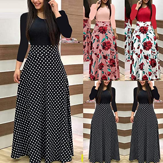 Howley Dress Women Casual Skirt Long Sleeve Floral Boho Print Long Maxi Ball Gown Ladies Casual Dress at Amazon Womens Clothing store:
