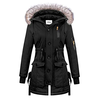 Aibrou Women Winter Coats with Faux Fur Hood Thicken Warm Cotton Jacket: Clothing