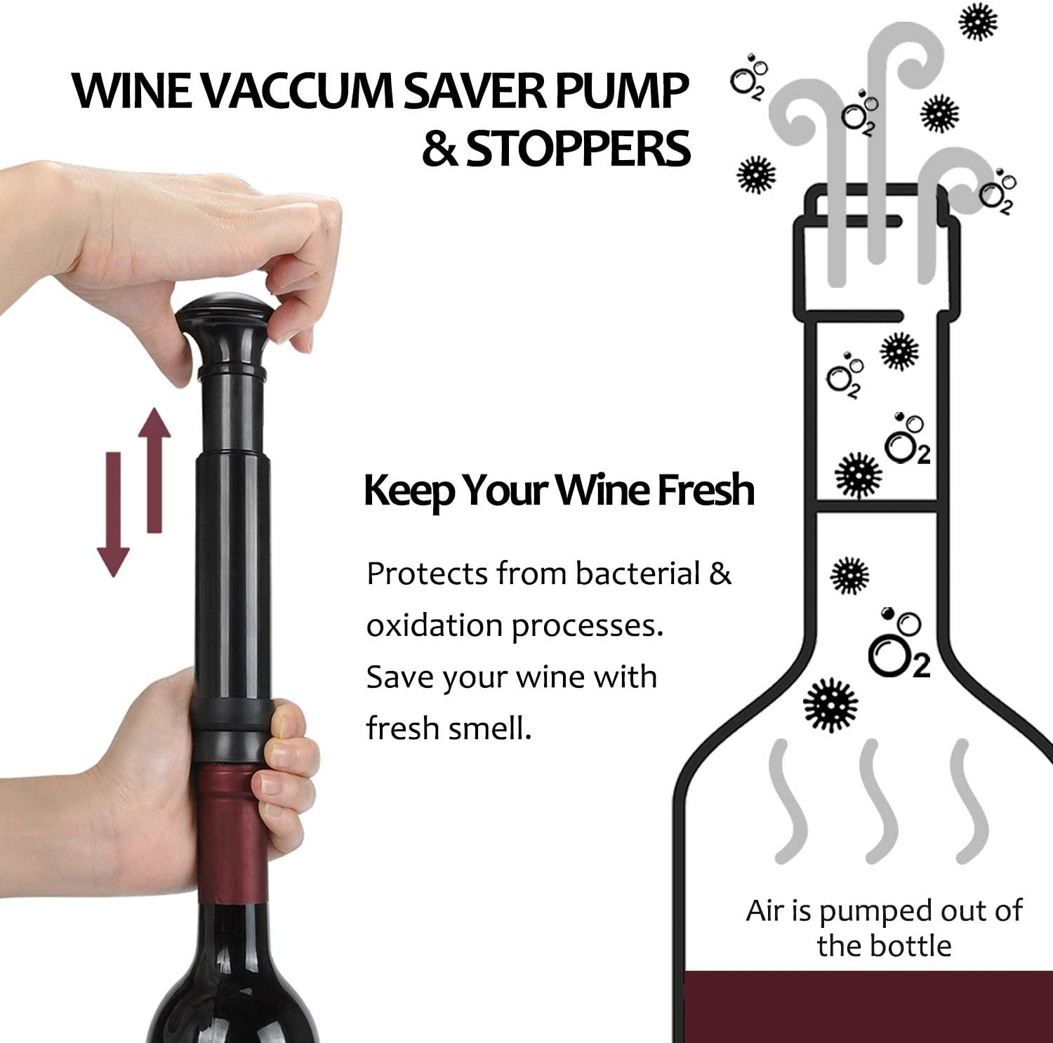 Perfect Wine Gifts Wine Pourer and Foil Cutter 2 Vacuum Stoppers Silver Kato Wine Bottle Cork Remover Accessory Tool Kit with Wine Saver Wine Air Pressure Pump Opener Set