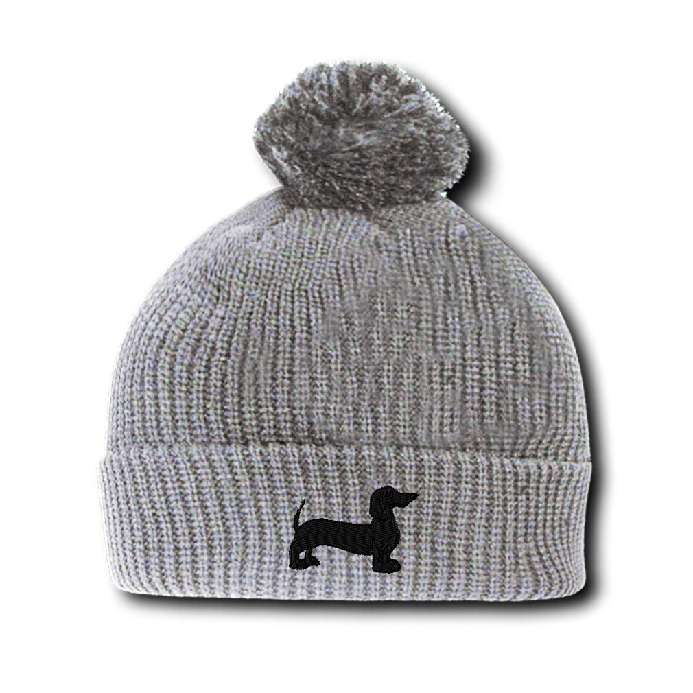 b4de19da0635a Amazon.com  Dachshund Dog Black Silhouette Embroidered Pom Pom Beanie  Skully Hat Cap Light Gray  Clothing