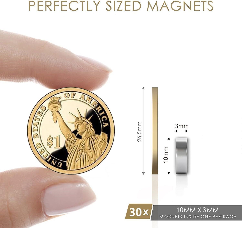 Bukm 10x3mm Premium Extr/êmement puissant aimants 30 Pcs Id/éale pour R/éfrig/érateur,Surfaces Magn/étiques,Tableau Blanc Interactif Aimants N/éodymes