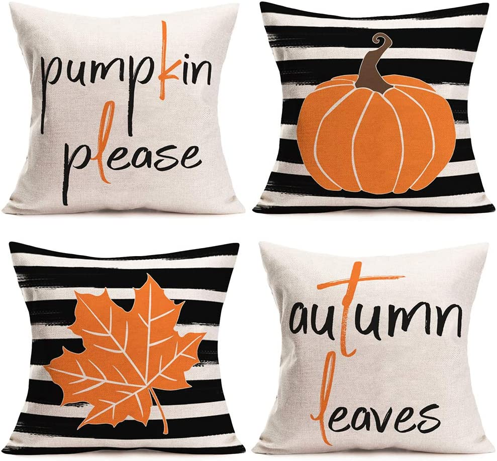 Doitely Fall Decor Throw Pillow Covers Pumpkin Please Autumn Leaves Black White Stripes Personalized Design Pillow Covers 18 x 18 Inch Autumn Thanksgiving Decor Cushion Case Set of 4 (Stripes Pumpkin)