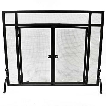 Amazon.com: WoodEze Single Panel Flat Fireplace Screen With Doors ...
