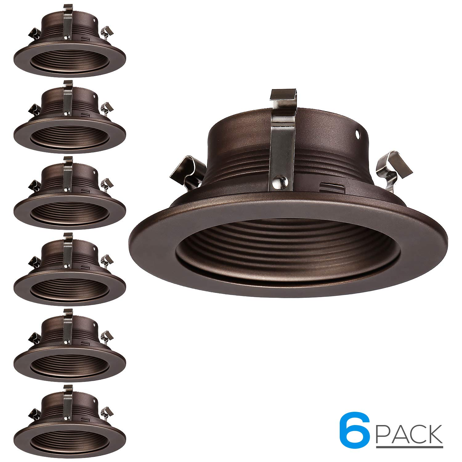 "TORCHSTAR 4 Inches Recessed Can Light Trim, Oil Rubbed Bronze Metal Step Baffle Trim, for PAR20, R20 Light Bulbs, for 4"" Recessed Cans, Halo/Juno Remodel Recessed Housing, Pack of 6"