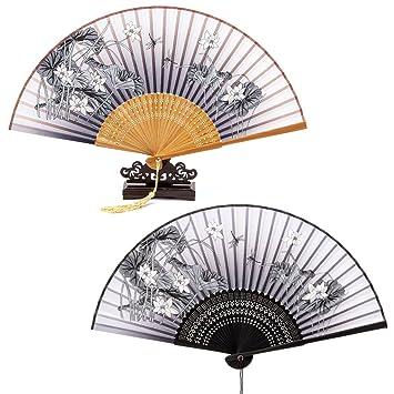 KAKOO Japanischer Handfächer mit Geschenkbox Schmetterling und Blütenkirsche