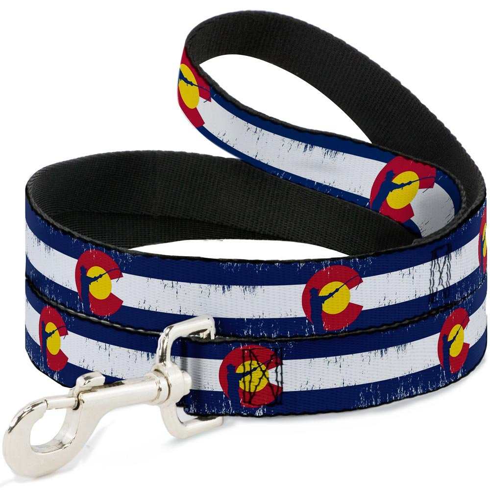 Buckle-Down Pet Leash colorado Flag Fisher Weathered 6 Feet Long 1  Wide