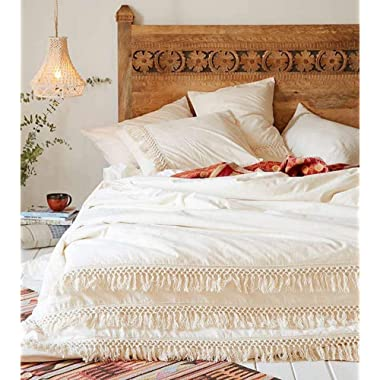 White Duvet Cover Fringed Cotton Tassel Boho Quilt Cover (96inL104inW)
