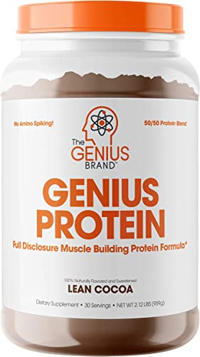 Genius Protein Powder - Natural Whey Protein Isolate Micellar Casein Lean Muscle Building Blend, Grass Fed Post Workout Strength Builder for Weight Loss and Strength Gains, Lean Cocoa, 2 LB