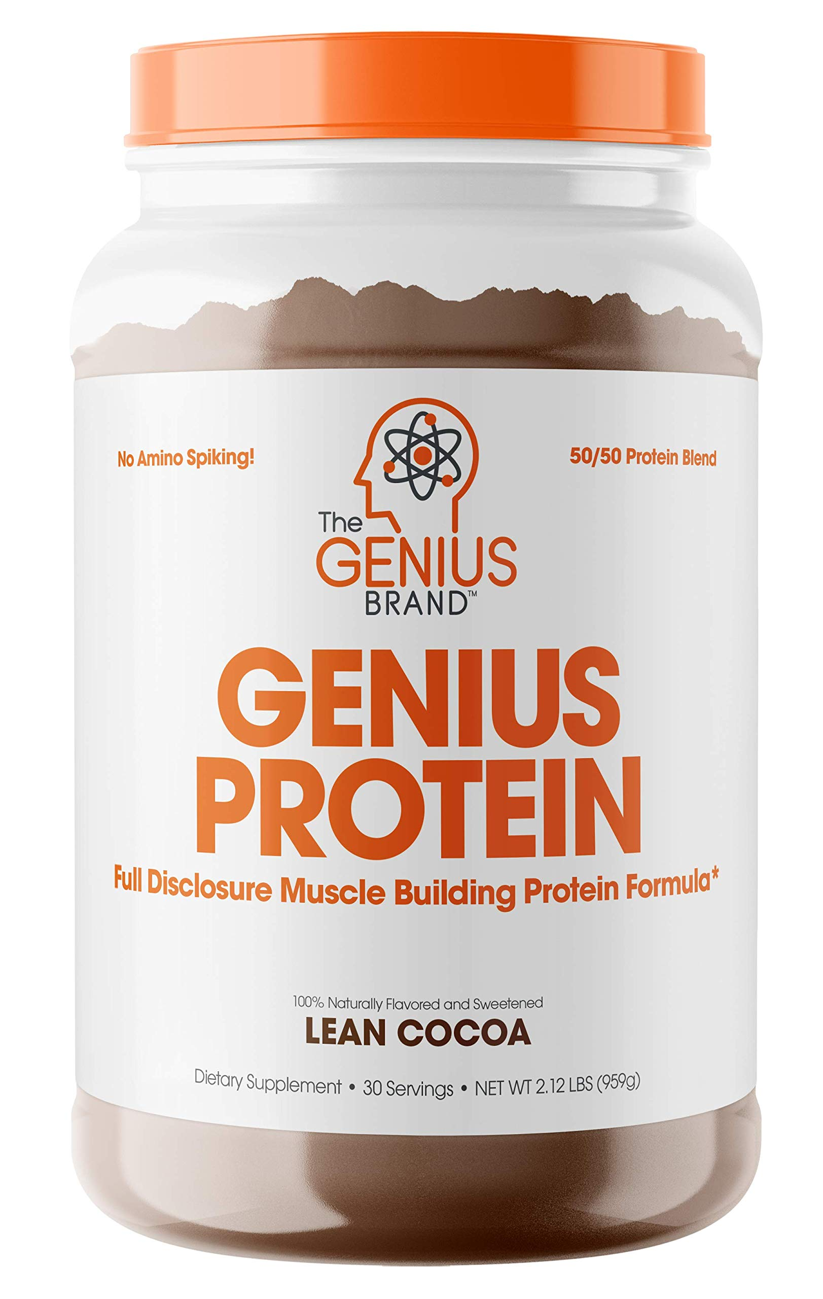 Genius Protein Powder - Natural Whey Protein Isolate & Micellar Casein Lean Muscle Building Blend, Grass Fed Post Workout Strength Builder for Weight Loss and Strength Gains, Lean Cocoa, 2 LB by The Genius Brand