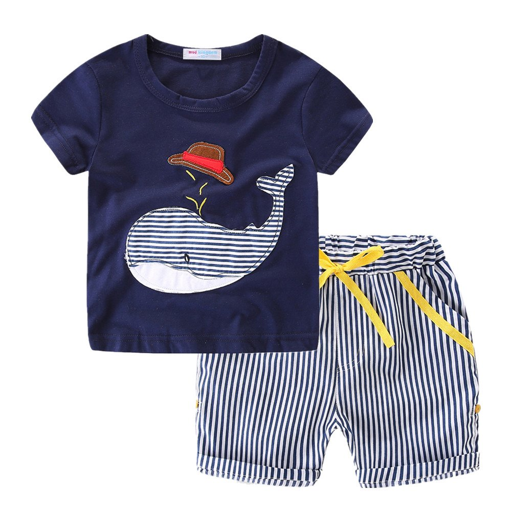 LittleSpring Little Boys' Shorts Set Summer Animal SLS-T0117