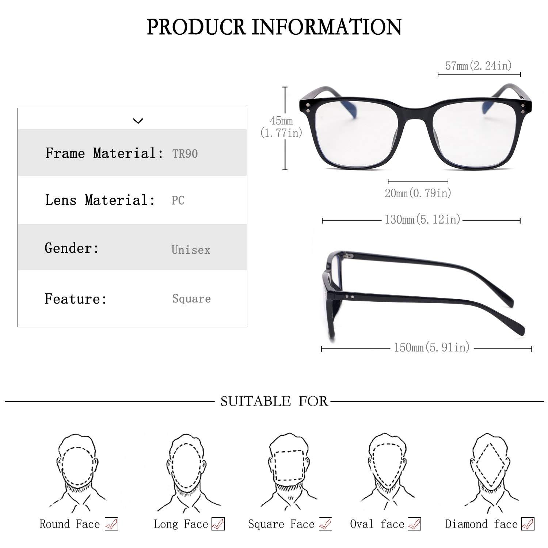 Blue Light Blocking Glasses Vintage Square Lightweight Frame Computer Game Eyeglasses Eyeglasses Frame Clear Lens Eyewear