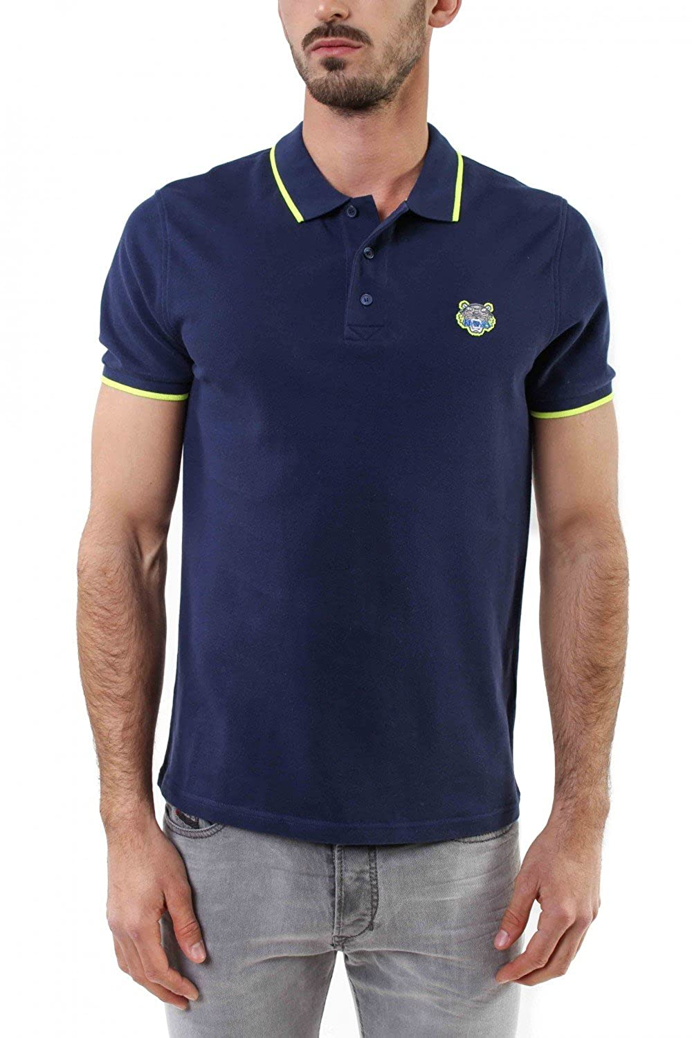 821b19b12b Kenzo Authentic Men's Navy Polo with Lime Tipped at Amazon Men's ...