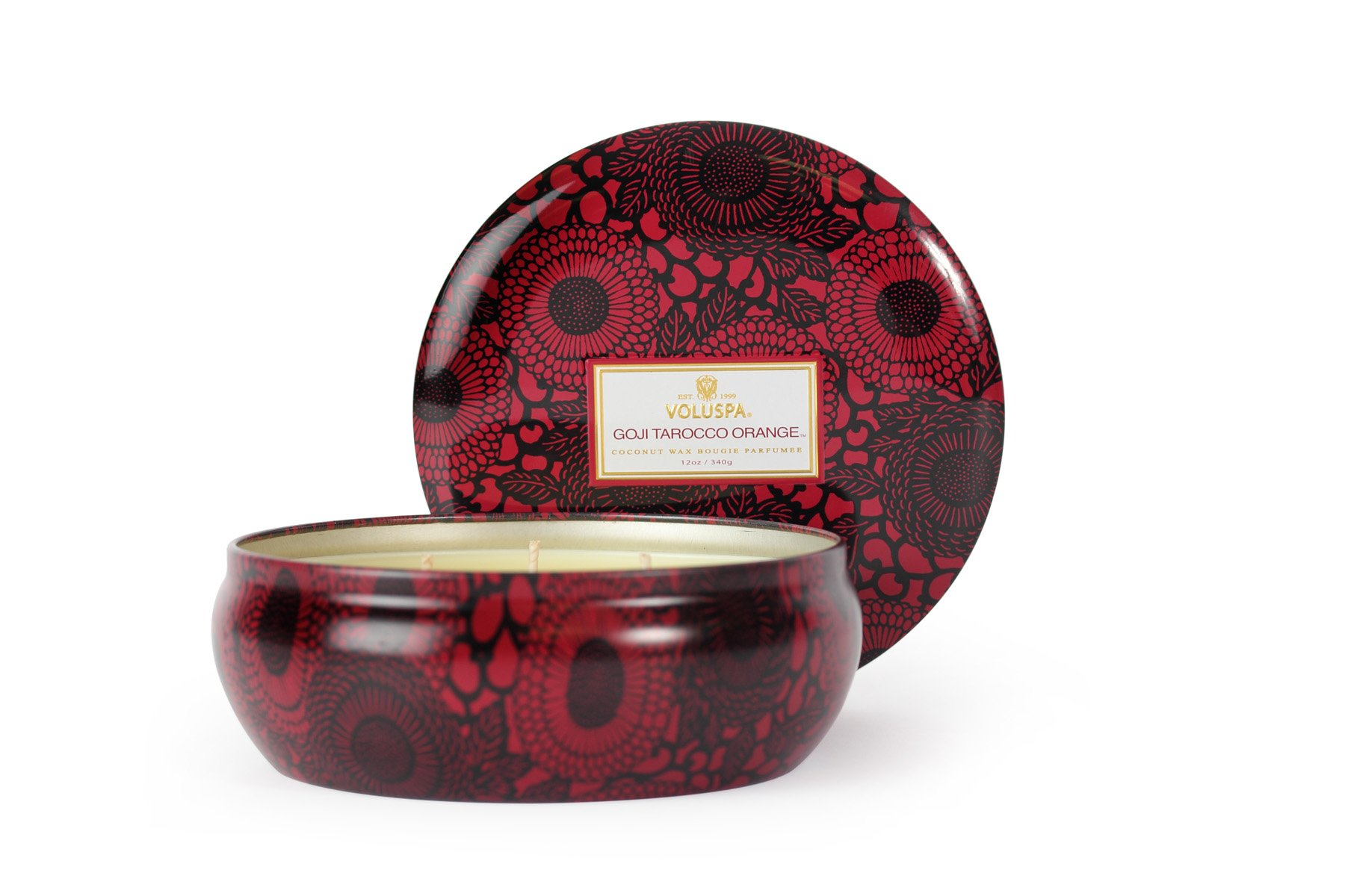 Voluspa Goji and Tarocco Orange 3 Wick Candle In Decorative Tin, 12 Ounce