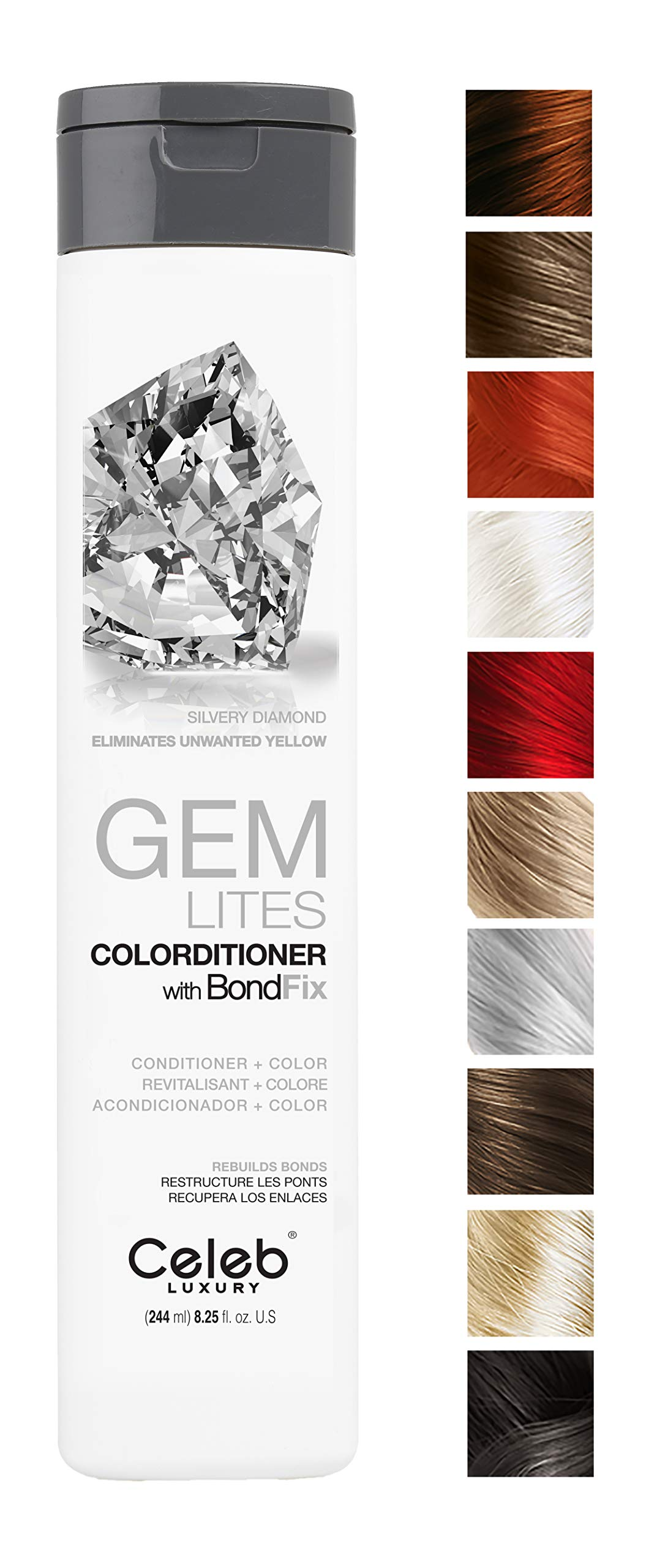 Celeb Luxury Gem Lites Colorditioner: Silvery Diamond, Hair Color Depositing Conditioner, BondFix Bond Rebuilder, Eliminates Unwanted Yellow, 10 Colors, Stops Fade, Cruelty-Free, 100% Vegan by CELEB LUXURY