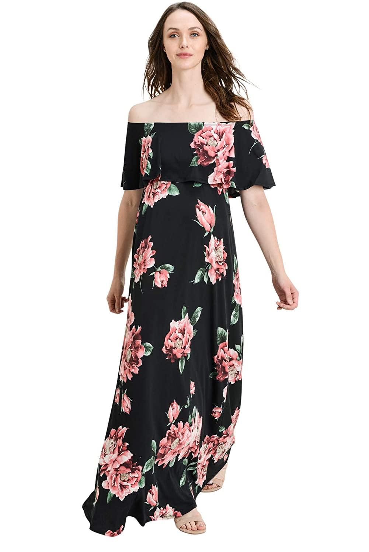 Hello MIZ DRESS レディース B07G3KD4WY X-Large|Black/Blush Flower Black/Blush Flower X-Large