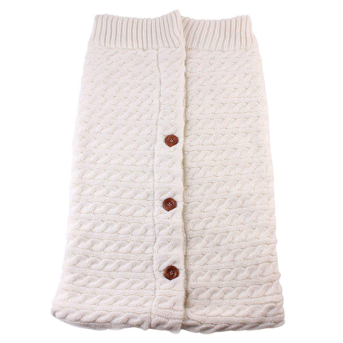Fille Gar/çon Couvertures Demmaillotage Peluche Tricoter Double Couche Hiver Gigoteuses pour Poussette 0-24 Mois Sac de Couchage B/éb/é