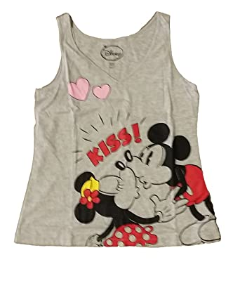 e14ac8e063eb81 Image Unavailable. Image not available for. Color  Disney Mickey   Minnie  Mouse KISS Junior Girls V Neck Pajama T ...
