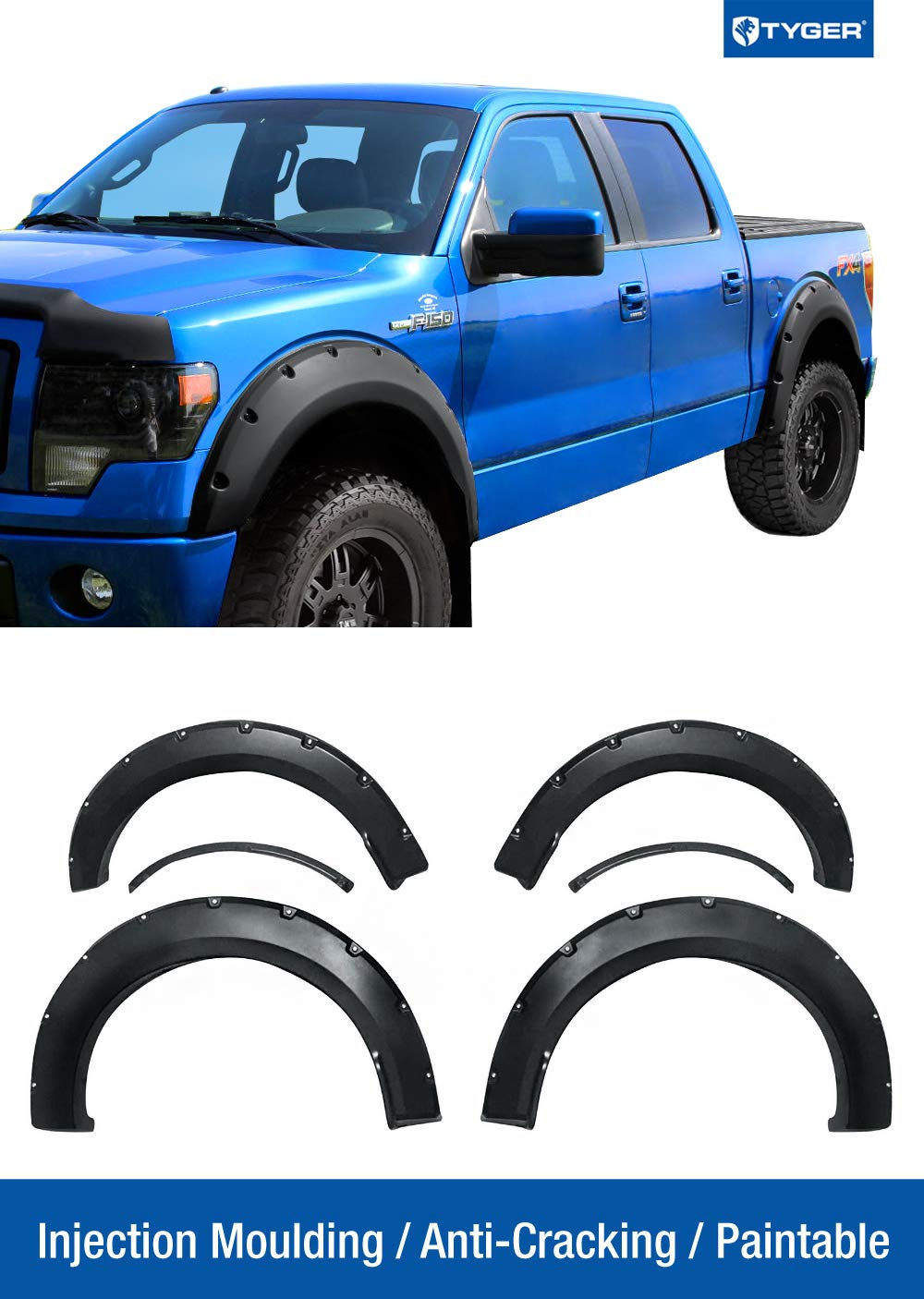 Tyger Auto TG-FF8F4168 for 15-16 Ford F150, Matte Black Pocket Bolt-Riveted Style Fender Flare 4 Piece Set