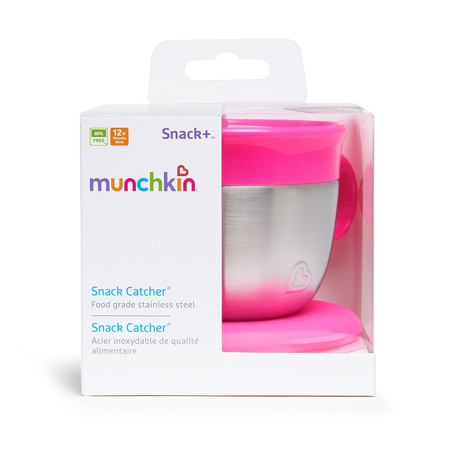 Pink Munchkin Stainless Steel Snack Catcher with Lid 9 Ounce