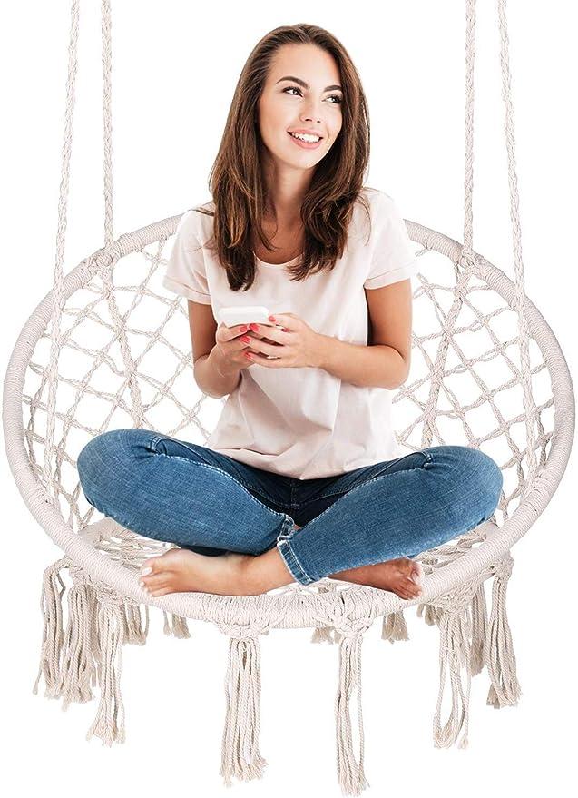 ENKEEO - Silla colgante hamaca para jardín, columpio o sillón máx ...