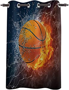 WARM TOUR Window Curtain Panel Basketball on Fire and Water Flame Splashing Printing Decor Durable Drapes for Bedroom Kitchen Living Room Thunder Lightning