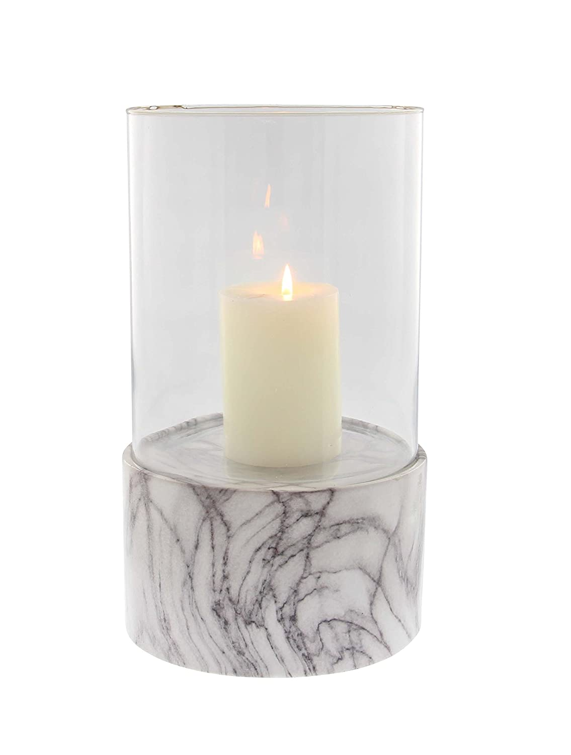 Deco 79 60760 Cylindrical Ceramic Glass Hurricane Candle Holder 13 x 8 Gray//White//Clear 13 x 8
