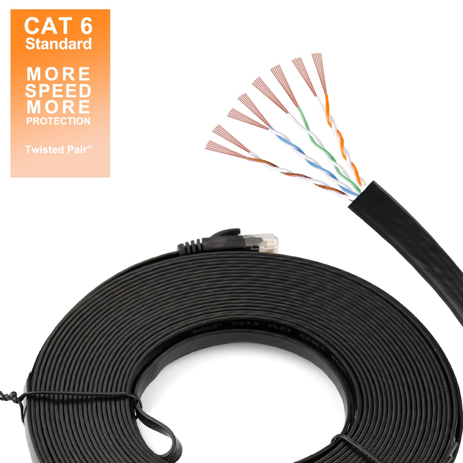 Jadaol Cat 6 Flat Ethernet Cable 100 Ft Black With Rj45 Wiring Diagram On There Are Two Acceptable Standards Tie Clips Slim Long Network Fast Patch Snagless