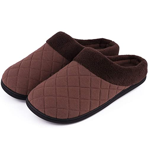 7d1bc04156d Men s Comfort Quilted Memory Foam Fleece Lining House Slippers Slip On Clog  House Shoes (Small