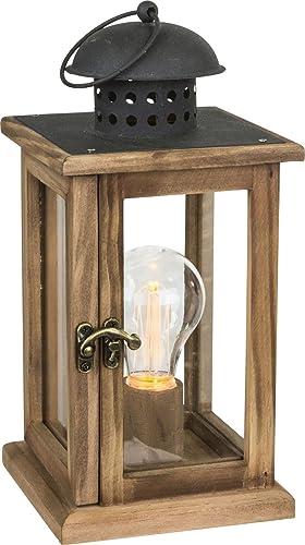 Farol LED con iluminación Bombilla Lámpara de mesa batería y corriente operativos Madera Metal (lámpara de mesa, decoración de Navidad, Luces de Navidad, altura 27 cm): Amazon.es: Iluminación