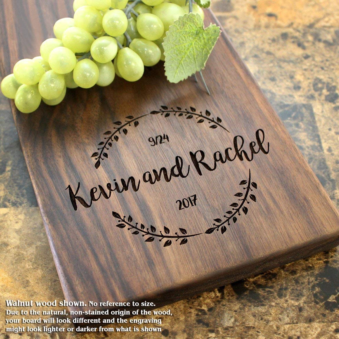 Wedding Laurel Wreath Personalized Cheese Board - Wedding Gift, Anniversary Gift, Engagement Gift, Bridal Shower. #023