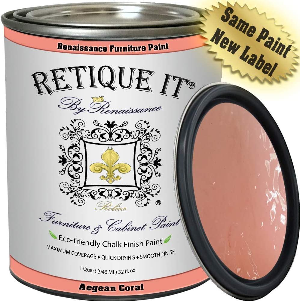 Retique It Chalk Furniture Paint by Renaissance DIY, 32 oz (Quart), 55 Aegean Coral