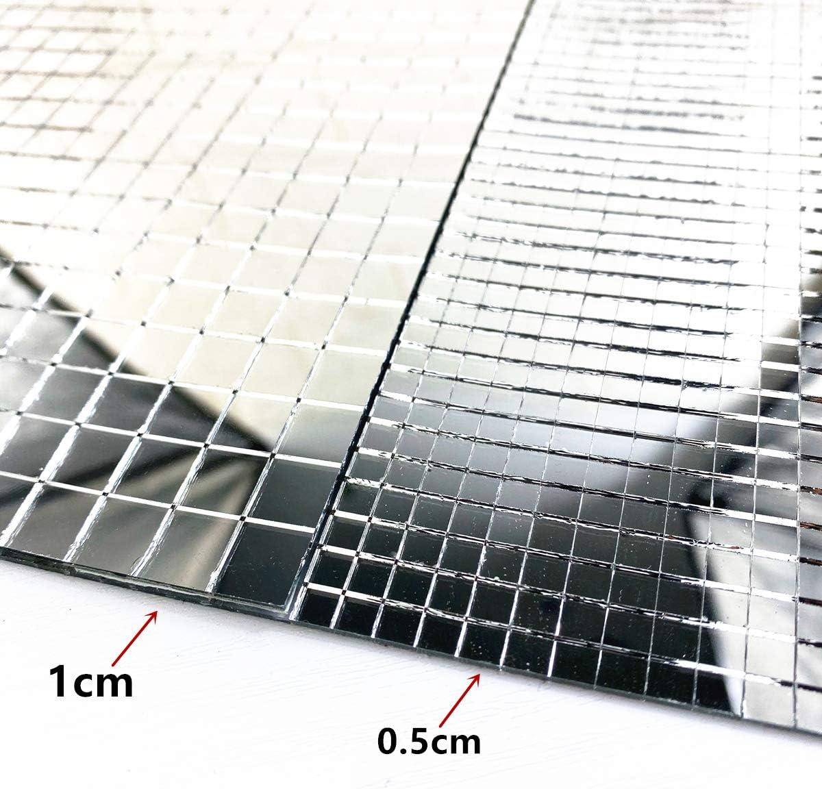 WDragon Lot de 900 autocollants pour carrelage en verre v/éritable Argent/é 10 mm x 10 mm