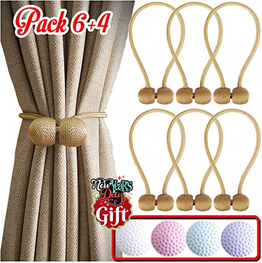 6 Pack Magnetic Curtain Tiebacks 16 inch Decorative Tie Backs Modern Rope Holdback for Draperies Curtains Holdbacks for Outdoor Kitchen Windows Porch Office Chocolate