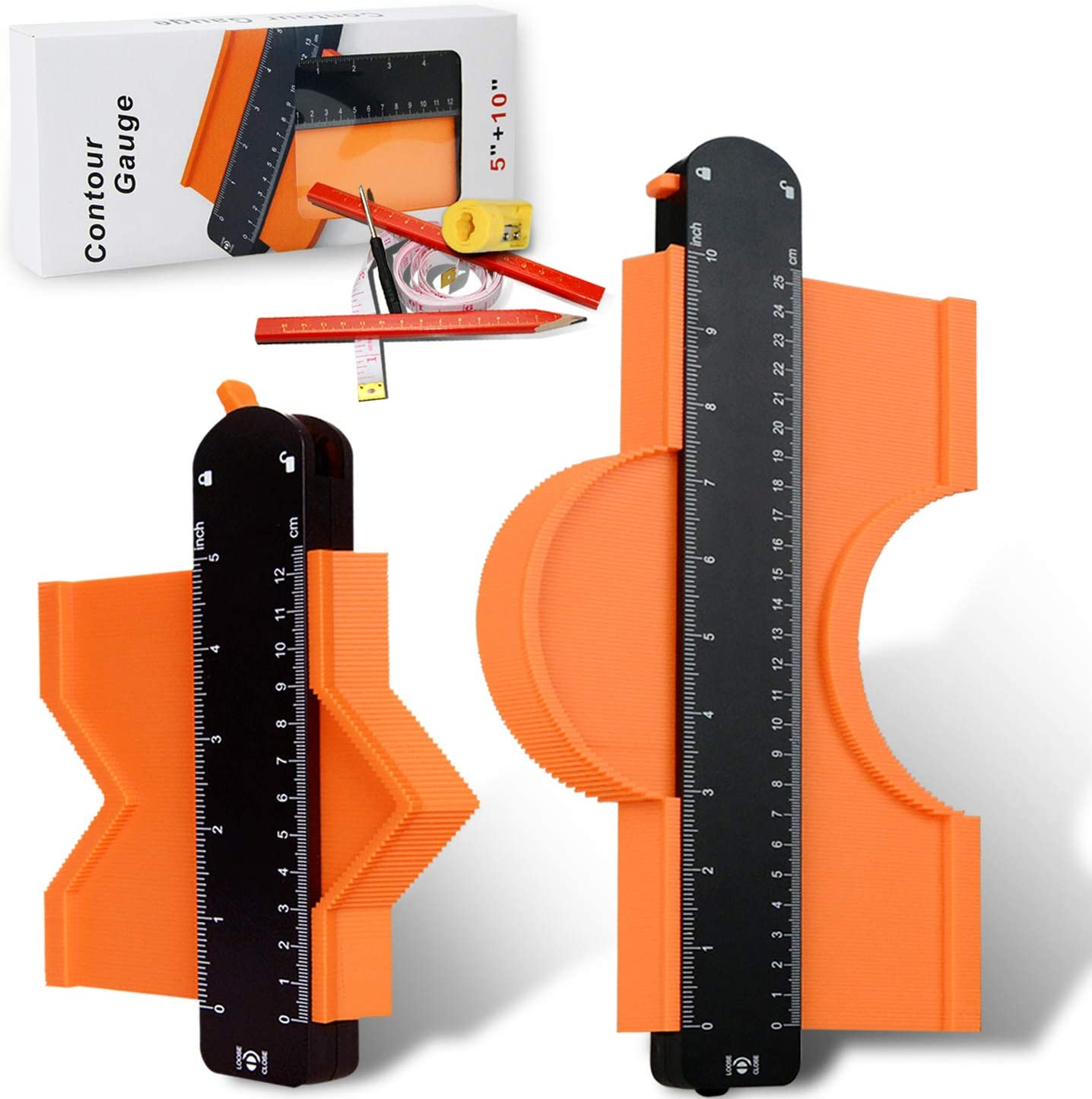 """5/"""" and 10/"""" 2Pack Contour Gauge Duplication Profile Tool US"""