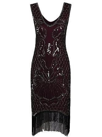 2e917c64 Vijiv Women's 1920s V Neck Flapper Dress Inspired Beaded Roaring 20s Great Gatsby  Dress Red#