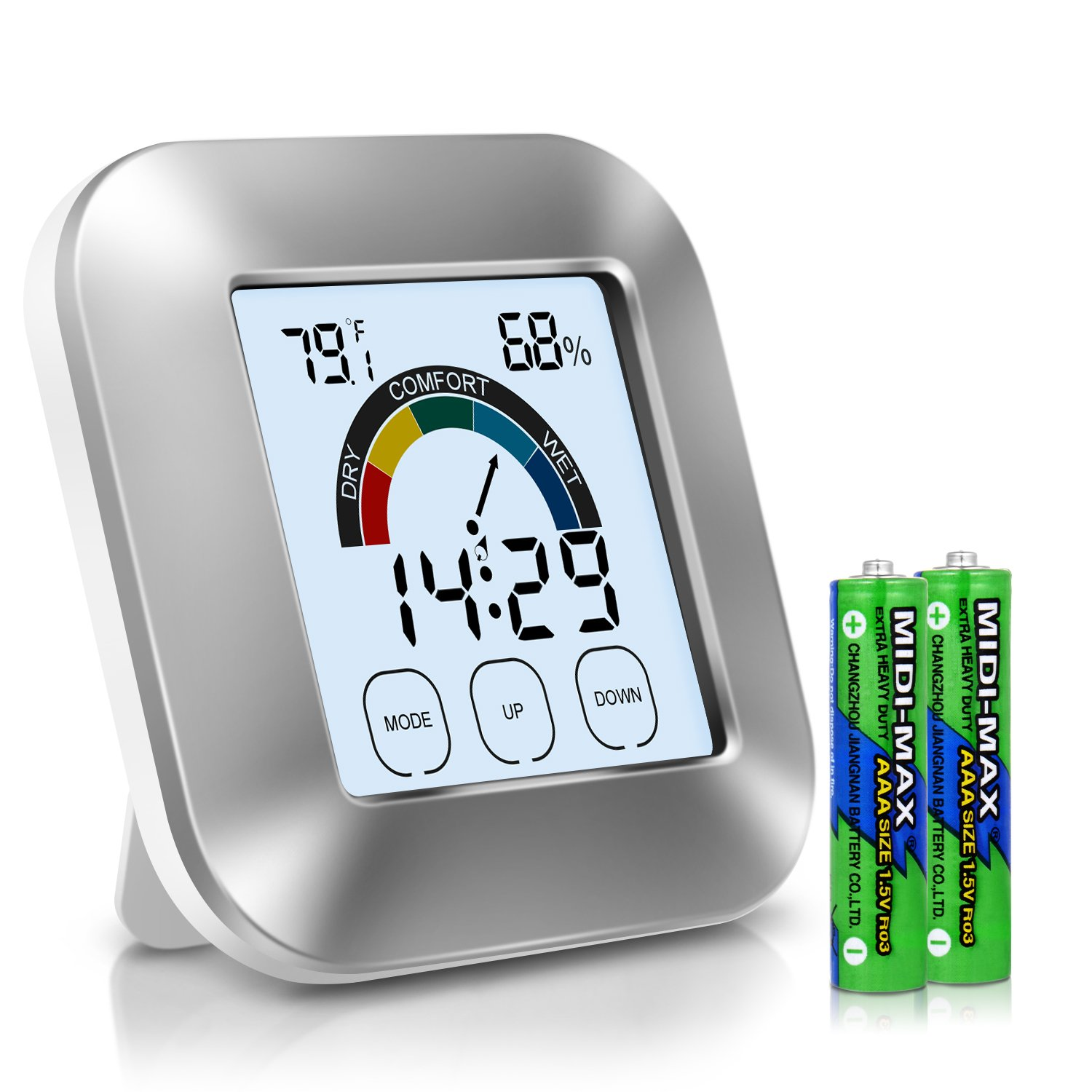Adoric Life Hygrometer Thermometer, Indoor Thermometer Humidity Monitor with Touchscreen, Backlight, Time and Alarm (Battery Included)