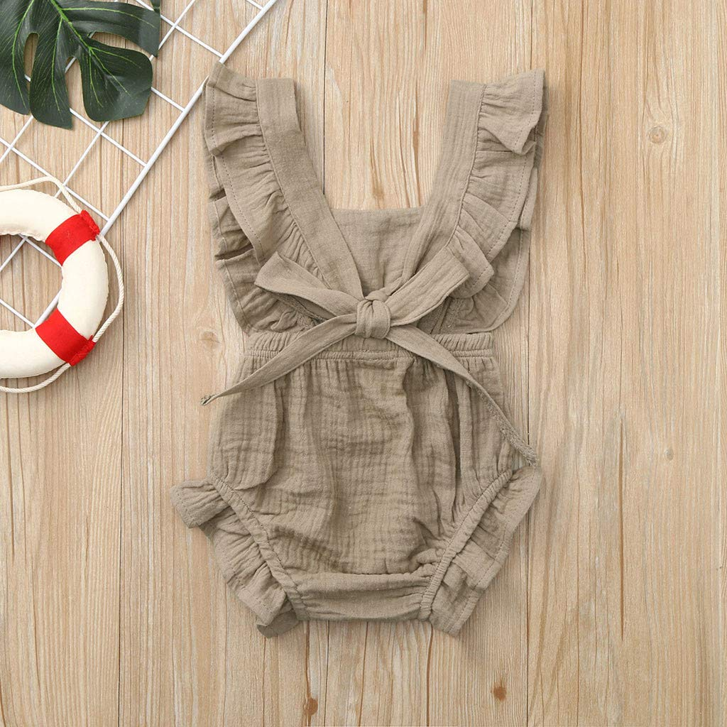 WOCACHI Toddler Baby Girls Clothes Infant Ruffles Bow Romper Bodysuit Outfits
