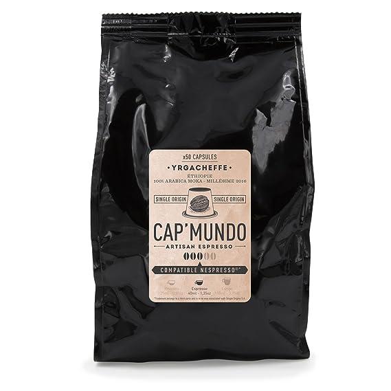 Cap Mundo Yrgacheffe 50 cápsulas de café compatible con Nespresso - Café Especial Moca Etíope Yrgacheffe