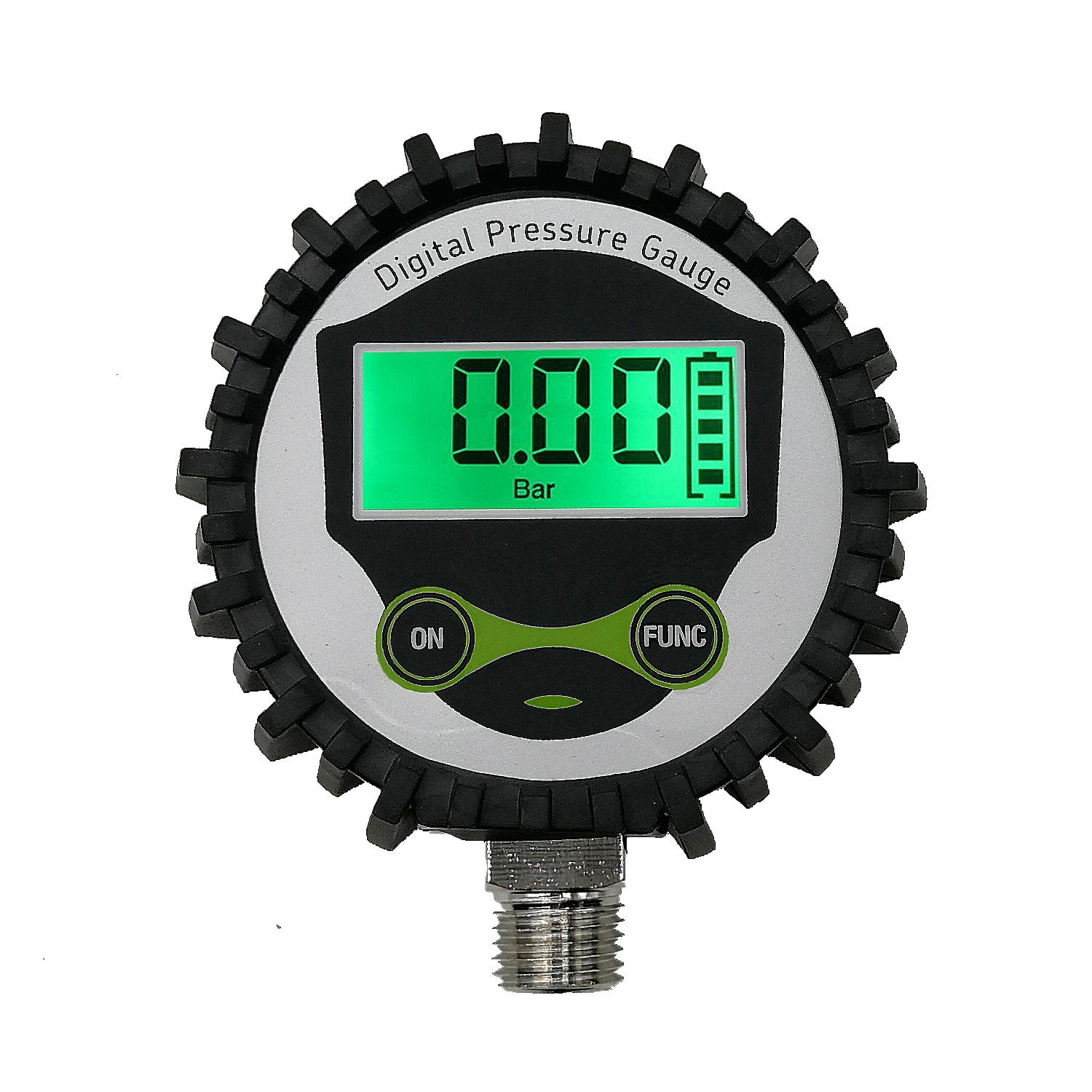 Digital Gas Pressure Gauge with 1/4'' NPT Bottom Connector and Rubber Protector by Uharbour, 0-200psi, Accuracy 1% .F.S.