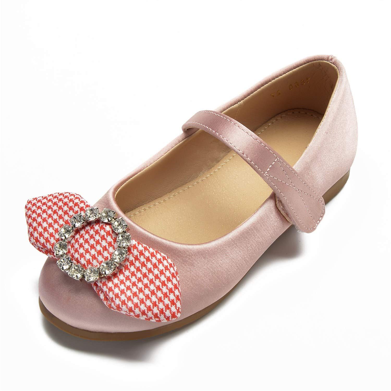 Zxstz Chaussures pour Filles Ballerina Flower Bowknot Girl Chaussures Flats Bowknot Flower Sparkling Glitter Boucle pour Enfants Mariage 24 Rose 37e4c1