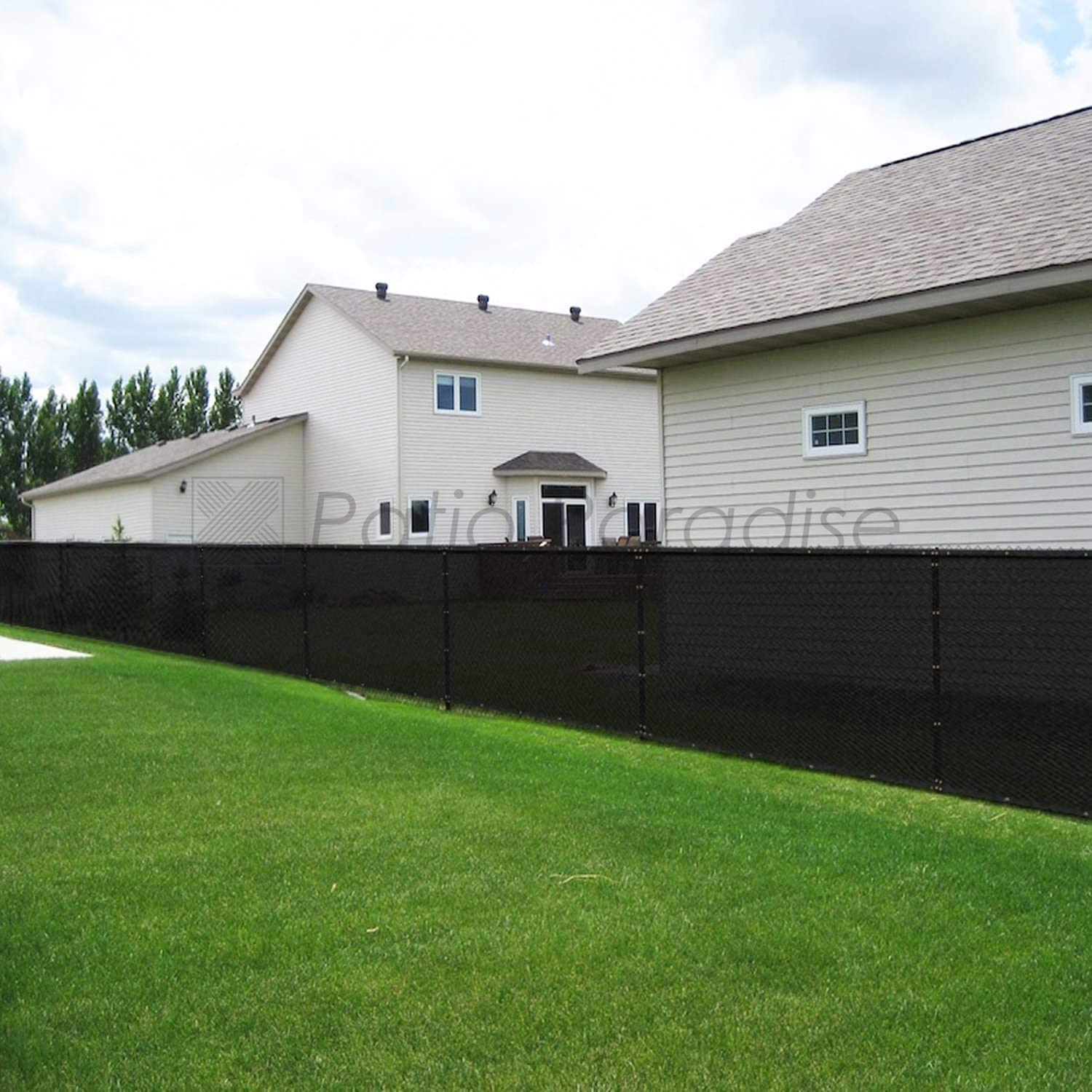 Custom Patio Paradise 4 x 5 Privacy Screen Fence in Black Commercial Grand Mesh Shade Fabric with Brass Gromment Outdoor Windscren