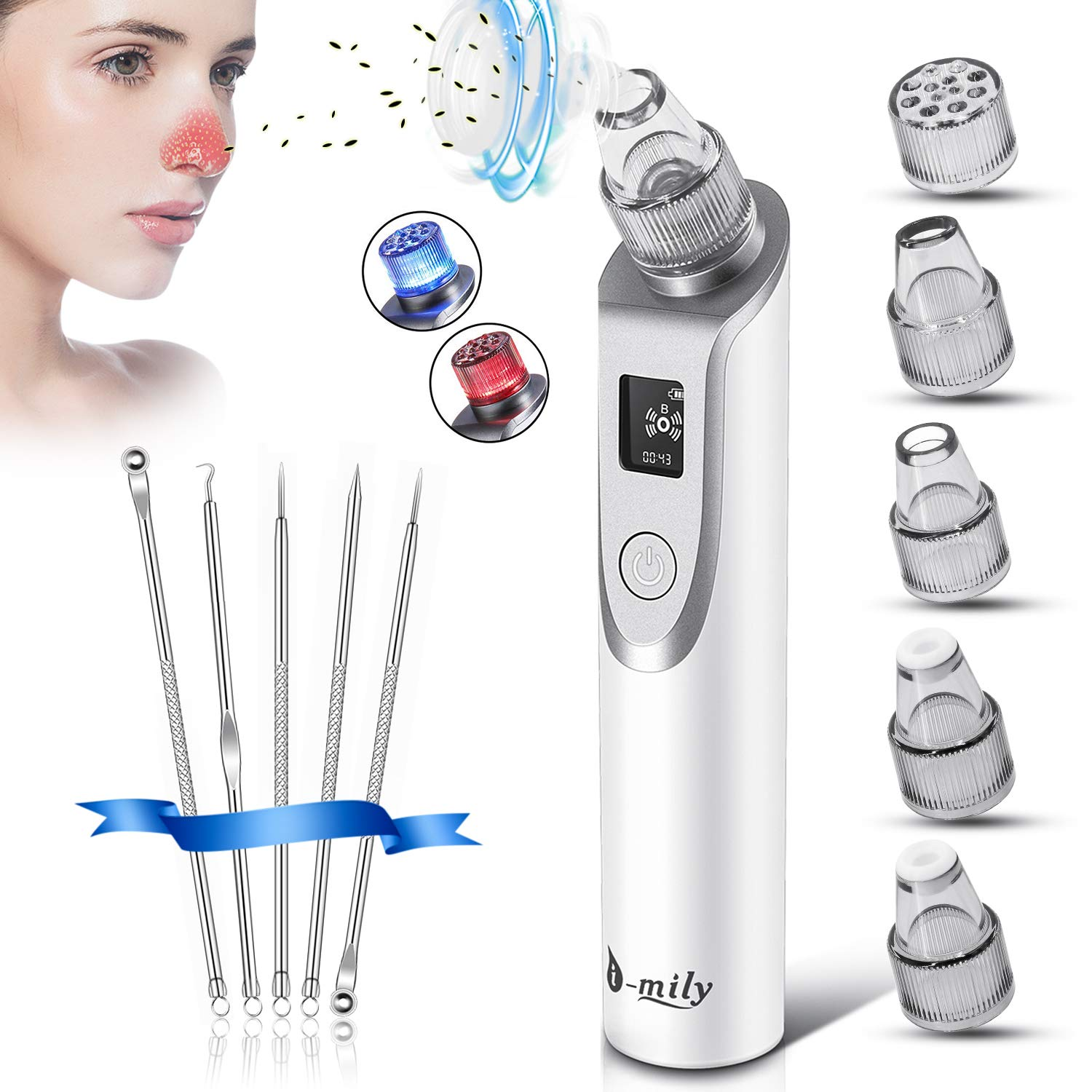 Blackhead Remover Vacuum - Pore Vacuum Cleaner Electric Suction Facial Comedo Acne Extractor Tool Set with LED Display for Women & Men (02)